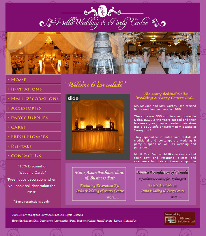 PB Web Solutions Ltd sample website design, Delat Wedding and Party Centre