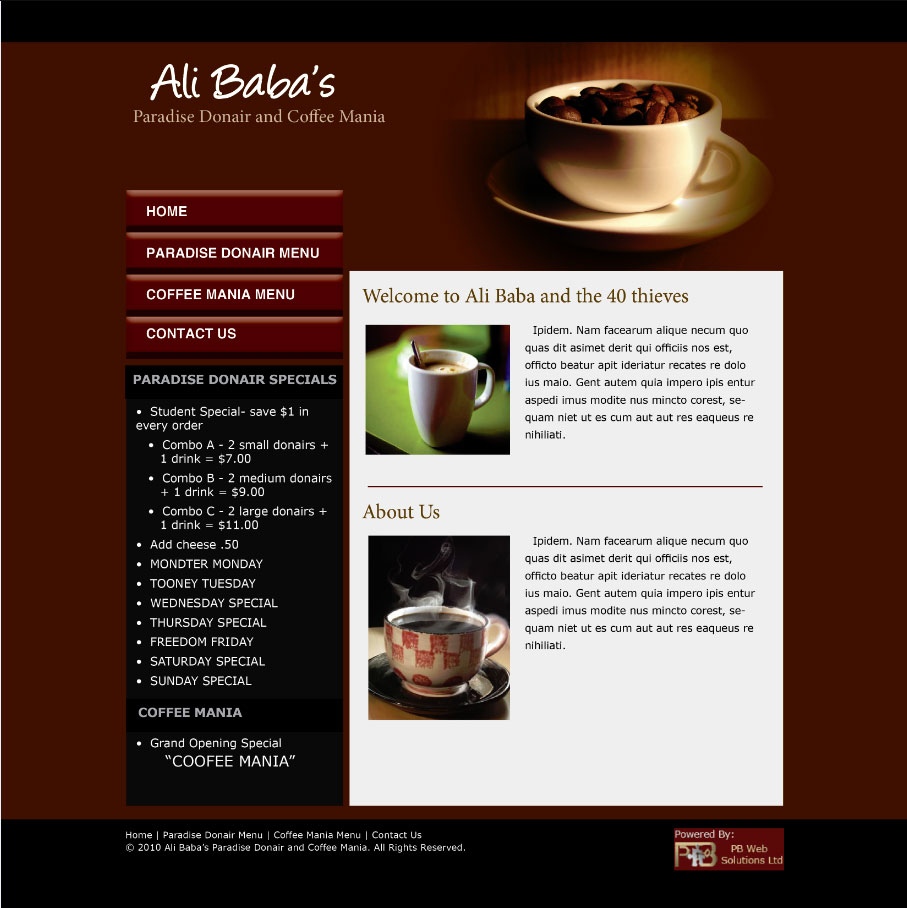 Pb web solutions ltd sle website design paradise donair and coffee