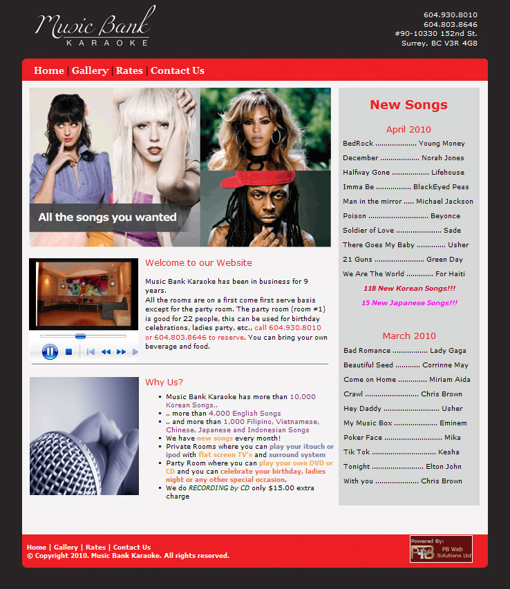 PB Web Solutions Ltd sample website design, Music Bank Karaoke in Guildford Surrey BC